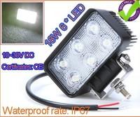 10~30V 18W 6LED Work Aluminium alloy Light Fog light For Jeep SUV ATV Off-road Truck Free shipping