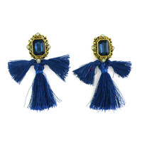 European Style vintage gold plated alloy square gem stone rhinestone crystal thread fringe tassel long earrings