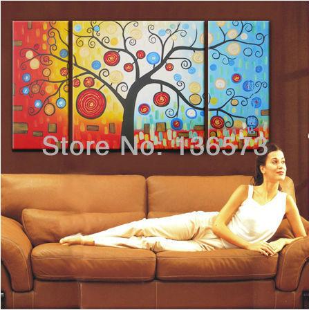 Pintados à mão abstrata moderna da lona pinturas de parede ramo cor money tree oil 3 painel Art Pictures set decoração de sem moldura(China (Mainland))