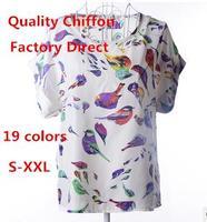 Free shipping new women chiffon blouse lady Printing short-sleeved Bat shirt hot sale