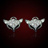 QMODE 2015 Big Promotion Fashion Shiny Fox Earrings Crystal Little Animal Fox Ear Stud Earring Free Shipping