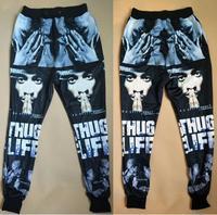 2015 new fashion men/women's sport jogging pants 3D print Tupac 2Pac cool skinny sweatpants track running joggers trousers
