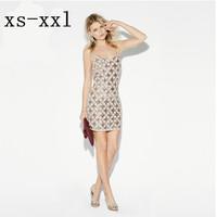 XS-XXL New Women Dress Spring And Summer Sexy Spaghetti Strap Racerback Cross Plaid Shining Paillette Slim Hip One-piece Dress