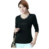 FS-3021 Free Shipping Spring 2015 Flower Hook Warm Long Sleeve T-Shirt For Women Plus Size T shirt