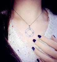 Exclusive custom big sense of Roman numerals Korea hollow created diamond necklace earrings short