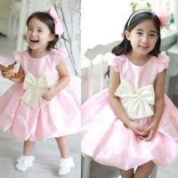 2-7Y Kids Girls Baby Bowknot Princess Dress Wedding Bubble sundress One-Piece
