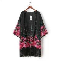 Womens Vintage Hot Pink Floral Print Loose Design Kimono Pattern Tassel Deco Cardigan Blouse Jacket Jackets Outwear