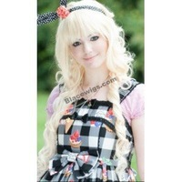 New Style Hot Fashion Japan Anime Cosplay Wig blonde long curly full bangs lolita wigs