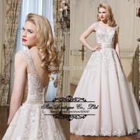 Vestido De Noiva 2015 V Neck Lace Appliques A Line Wedding Dresses Bridal Dress With A Long Train Gowns Plus Size