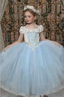 2015 kids clothes Romance princess dress cartoon Movie Cosplay Costume kids girls Blue Dress party dresses LI0054