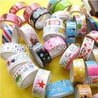 Wholesale 100rolls/lot Mixed Cartoon Deco Washi DIY Tape Adhesive Scrapbooking Sticker for Students Children Kids