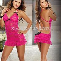 Hot Lady Women's Sexy Lingerie Lace Dress Underwear Rose Babydoll Sleepwear S-M