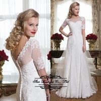 2015 Vestido De Noiva Mermaid Wedding Dresses High Neck Backless Half Sleeves Lace  Bridal Dress