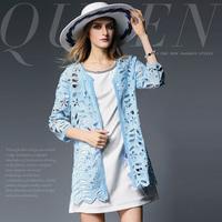 15012001 fashion high quality water-soluble flower cutout slim medium-long outerwear