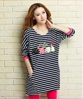 Clothing 2015 autumn stripe embroidered plus size maternity clothing fashion 100% cotton t-shirt basic free shipping