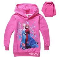 New style girls anna princess sweatshirts with cap children's long sleeve hoodies tops kids cotton hoody in stock freeshiping