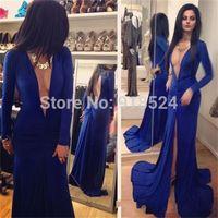 Fantastic New Style Deep V Neck Chiffon Evening Dress Long Sleeve Mermaid Royal Blue Prom Party Dress