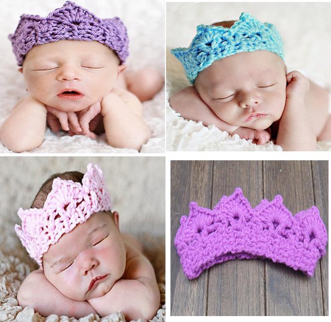 2015 new crown baby hat handmade crochet photography props newborn baby boys girls cap  for newborn 2- 6M Holiday birthday gifts(China (Mainland))