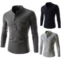 Freeshiping High quality 6 Colors Fashion Design Men T-shirt Summer Wear Long Sleeve Mandarin Collar Size M-XXL PPY10