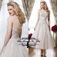 2015 Sweetheart Short Organza Beach Wedding Dresses With Beading A Line Bridal Dress Vestido De Noiva