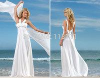 Classic  A-Line Halter Beaded Waistline Chiffon Floor Length Beach Wedding Dress Bridal Dress