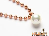 South Korean female models pearl pendant 14K rose gold titanium steel bead necklace