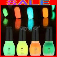 100PCS/LOT Free Shipping Laushine Fluorescent Neon Luminous Nail Polish Glow Nail Enamel  Luminous 15ml