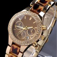 NEW Pretty Luxury Crystal Diamond Gold Acrylic&Alloy Strap Quartz Women's Ladies' Wedding Wrist Watch White Leopard With Logo
