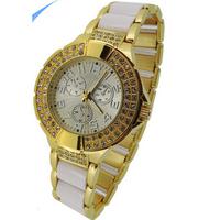 New 2014 Fashion Luxury Ladies Quartz Famous Brand Watch Dress Wristwatches Gold Color Rhinestone Case Women Watches