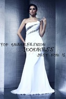 Beautiful A-Line Strapless One Shoulder Floor-length Sequined and Pleated White Chiffon Prom Dress 2015 Long Evening Dress