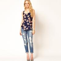 2015 blusas femininas roupas New Fashion blouses Butterfly Print Chiffon tops casual Shirts blouse women clothing