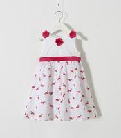2015 Girls Red Floral Bow Beading Birds Pattern Dresses, Kids Brand Fashion Dress 6 pcs/lot ,Wholesale