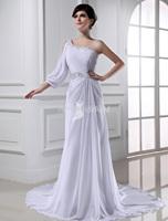 2015 Custom Vestidos De Noiva White Long Sexy One Shoulder Wedding Dresses Court Train Bride Dress Bridal Gowns