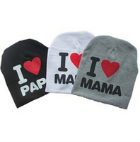 2015 New Autumn Baby Knitted Warm Cotton Beanie Hat for Toddler Baby Kids Girl Boy I LOVE PAPA MAMA print Winter hats