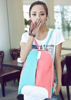 2015 RAXH Lovely Color Blocking backpack Fashion Student bag Hot sale bag women bag