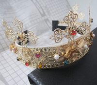 Hot Fashion Multi Crystal Cross Hairbands for women Hair jewelry Gold Leaf Headbands Flower Crown weeding hair accessories 2015