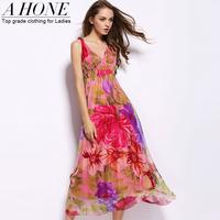 Twods 2015 new real silk women summer dress long breach dress Sexy v-Neck slim summer breach dress full length floral print