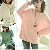 New Sale Fashion Batwing Sleeve Knitted Women Sweaters Casual Loose Pullover Sweater Women Lovely Women Knitwears 3 Colors
