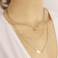 New Women Chain Necklace Fashion Jewelry Silver Sequin Choker Statement Multilayer Necklace NE035