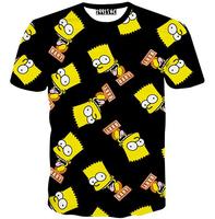 [Alice]free ship 2015 Europe and America Hot Simpson cartoon 3d t shirt men's short sleeve o neck casual t-shirt M-XXL T1532
