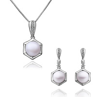 Hot Sale Fashion Pearl Jewelry Sets For Women 18K White Gold Necklace + Stud Earrings Wedding Jewelry Sets High Quality PS037