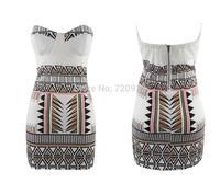 Strapless bra Geometric empire dress party dresses women Short dress sexy free shipping