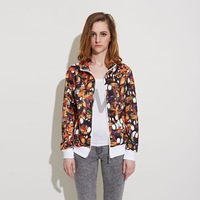 2015 New Fashion Loose Casual jackets women Toucan Print Sports Coat spring women coat women's jackets Free Shipping