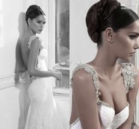 Latest Design  Mermaid Sweetheart Beaded Cap Sleeves Sweep Train Lace Backless Sexy Bridal Dress