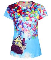 New Fashion Funny Summer Women's 3D T-shirt Printed Top Tees UP HOUSE BALLOONS Tshirt Women T shirt