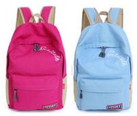Han Edition Embroidery Letter Canvas Backpack/Middle School Bag/Fashion Shoulder Travel Bag/Preppy Style Rucksack