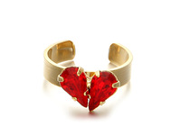 2015ss early spring New Red Heart Love gilded red gem ring opening