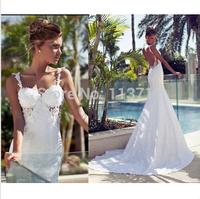 New Fashion Mermaid Sweetheart Brush Train Lace Spaghetti Strap Backless Wedding Dress