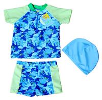 New free shipping kids boy 3sets / lot printed marine animals UPF 50+ 3pcs beach rash guards sets with hat