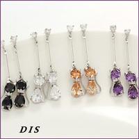 Earrings for Women 2015 New Designs Brincos Grandes Lovely Cat Brincos De Festa Silver Orangr Black Purple Colors DIS1213007